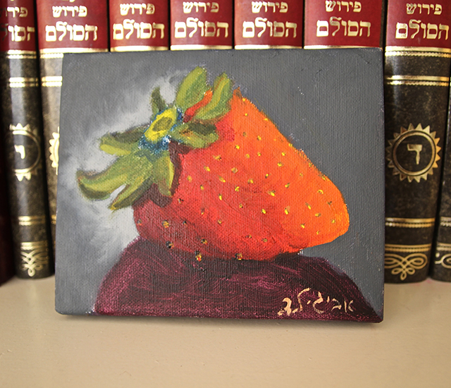 Strawberry oil painting by child