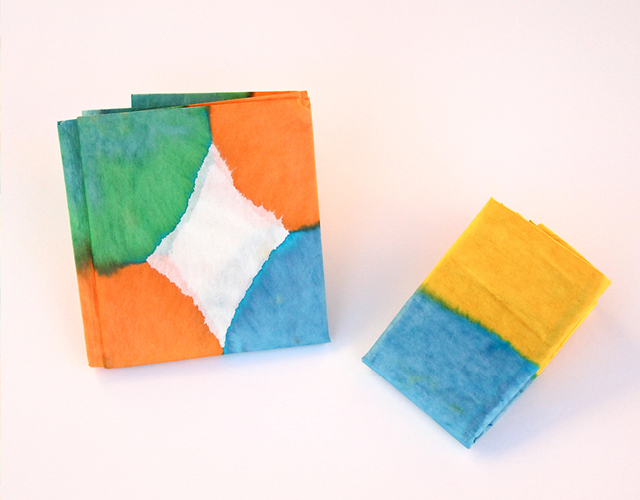 Dip dyed tissue paper folded