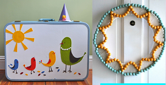 Revamped suitcase, summer wooden bead wreath