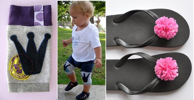 Toddler knee pads, plastic bag pom poms