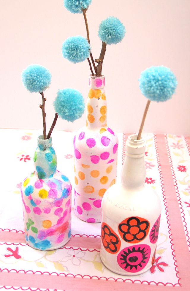 Wine Bottle Vases Decoupaged With Tissue Paper Creative Jewish Mom