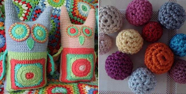 Crochet owls, crochet beads