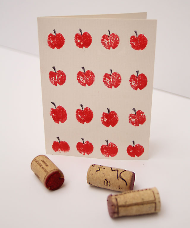 Wine Cork Stamp Jewish New Year Card