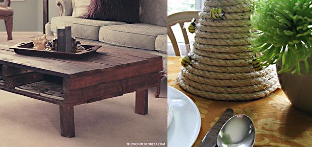 Palette coffee table,rope bee skep