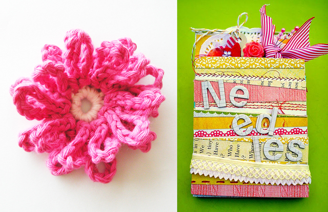 Needlebook,pink crocheted flower