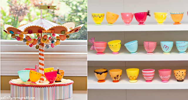 Plastic egg tea cups and carousel