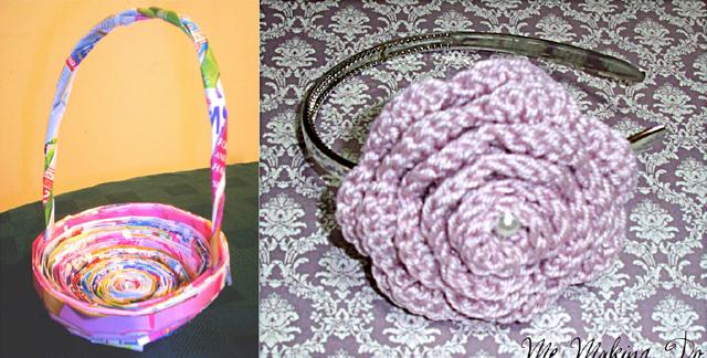 Magazine page basket, crocheted flower headband