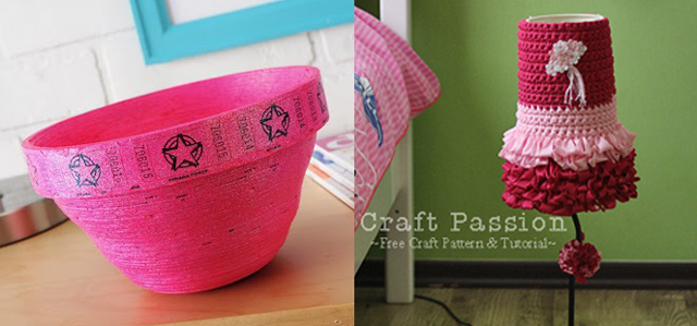 Ticket bowl and crocheted fabric lampshade