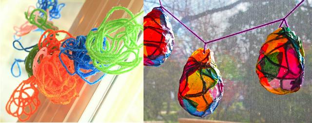 Glue stiffened yarn toddler crafts