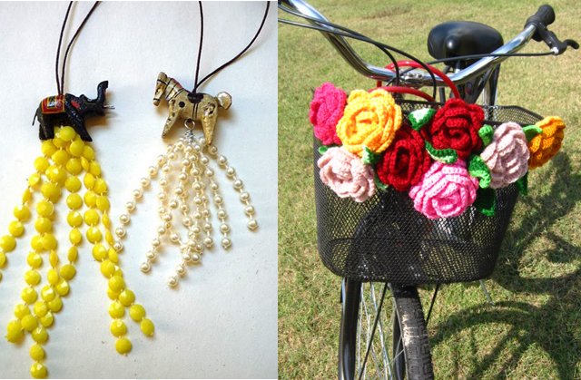 Mardi gras bead tassels+crocheted bicycle basket flowers
