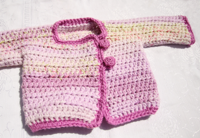 Crocheted In One Piece Baby Sweater Pink