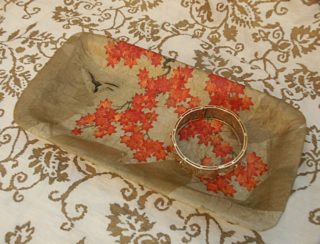 Paper Mache Tray Long With Bracelet