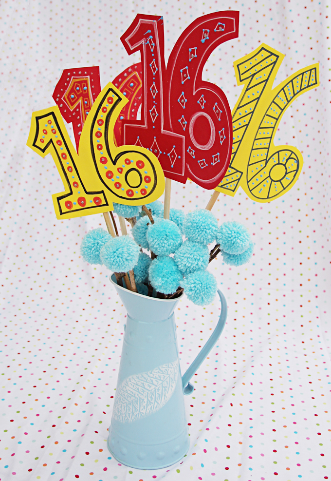 Pom Pom Birthday Centerpiece Arrangement Bouquet