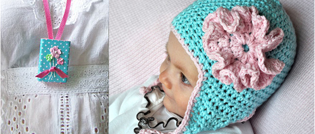 Crocheted earflap baby hat, matchbook locket