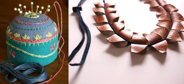 Tuna can pin cushion, leather disc necklace