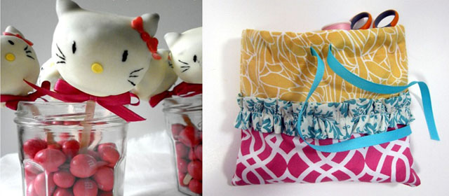 Hello kitty cake pops, drawstring bag