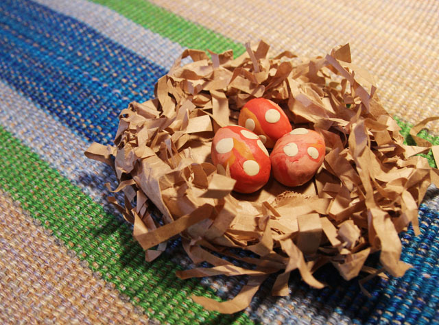 Paper Bag Nest with modeling Clay eggs