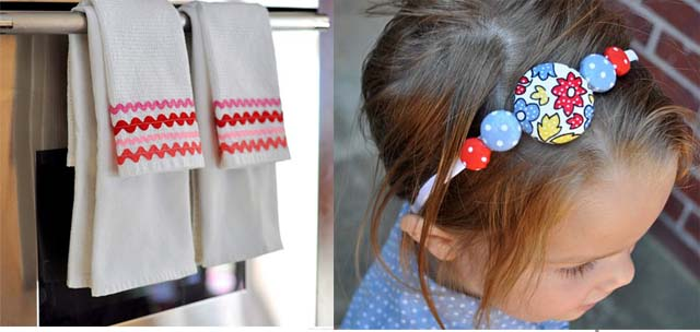 Ric Rack Towels, covered button headband