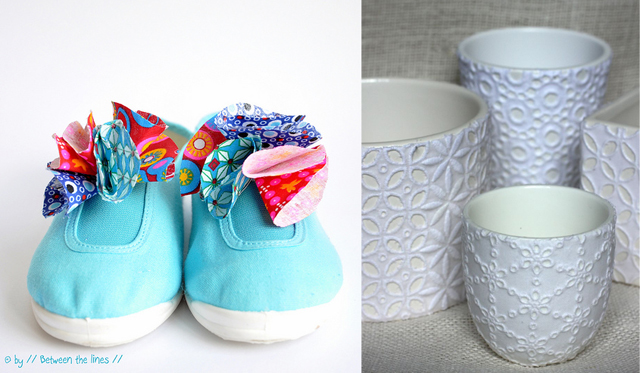Decoupage with eyelet fabric,flower shoe toppers