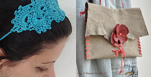 Crocheted queen anne's lace headband, leather hide purse