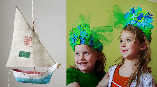 Paper mache boat,mermaid crowns