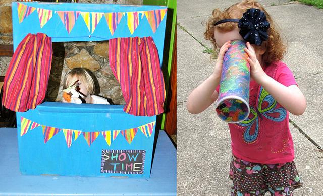 Cardboard Puppet theater,pringles can kaleidscope