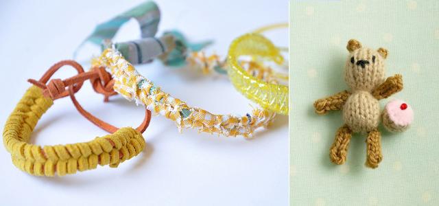 Summer bracelets, knitted bear