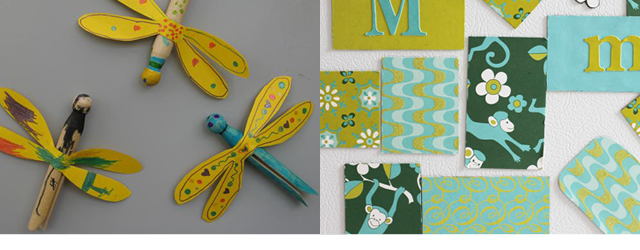 dragonfly magnets,scrapbooking paper magnets