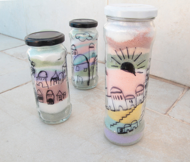 Salt Colored with chalk jars kids craft