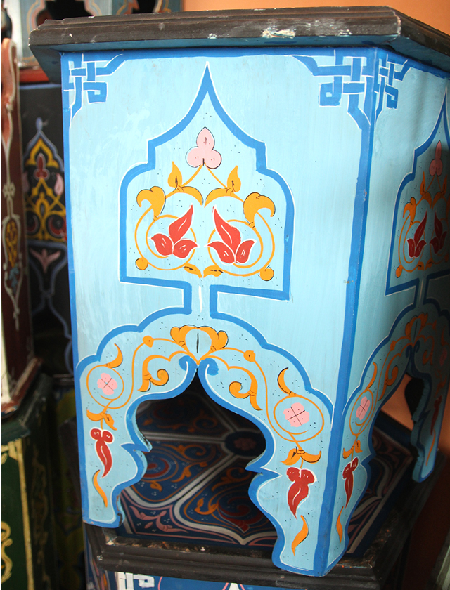 Moroccan painted table close up