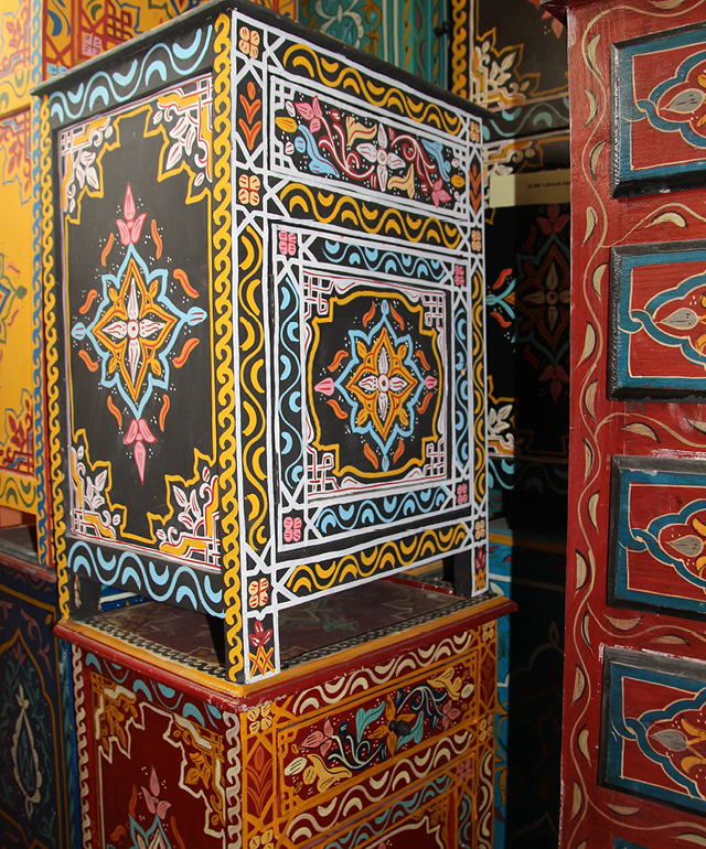 Moroccan painted cabinets