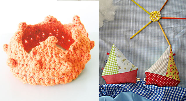 Crocheted crown, stuffed ships