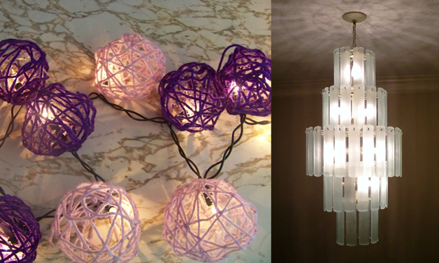 Yarn ball lights,chandelier re-vamp