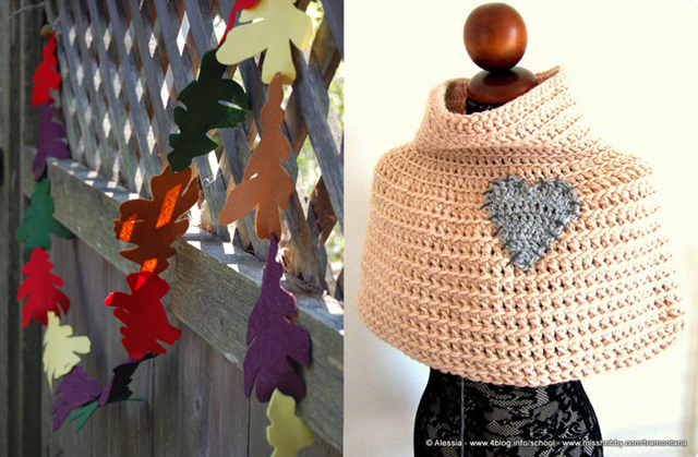 Fall leaf Succah garland,crocheted capelet