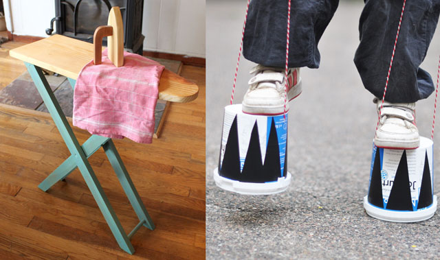 DIY wooden child's ironing board,recycled yogurt clompers