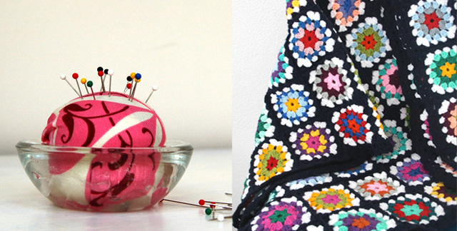Tea light holder pin cushion,granny blanket