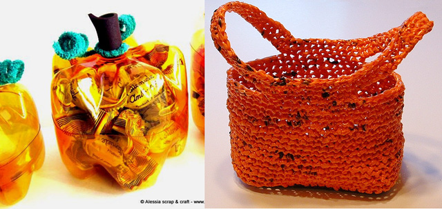 Plastic bottle pumpkin,plastic bag yarn crochted bag