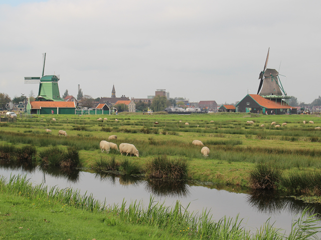 The Netherlands,windmill in the Zaan region in Zaanse Schans