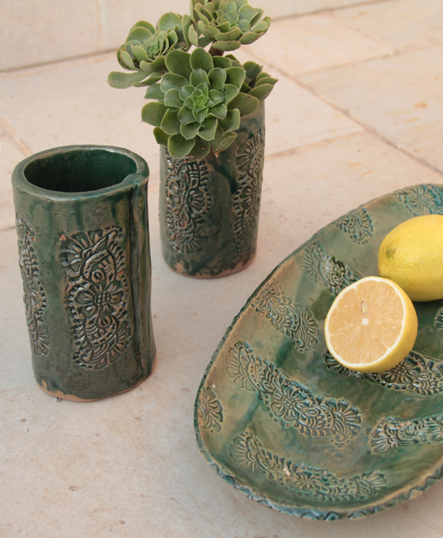 Ceramic hand built cups and platter