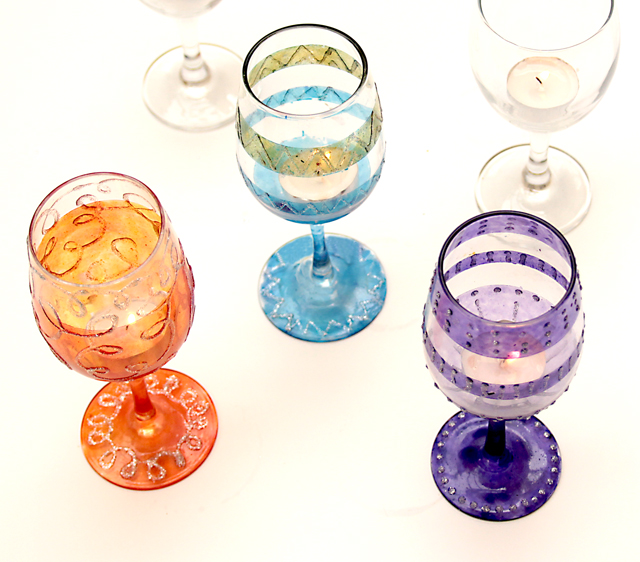 Wine Glass Tea Light Holders