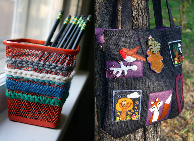 Needlepoint pencil cup,felt applique knitted bag