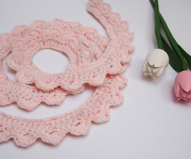 Crocheted Skinny Scalloped crochet scarf flat