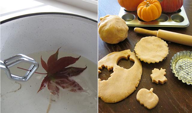 Waxed fall leaves, pumpkin play dough