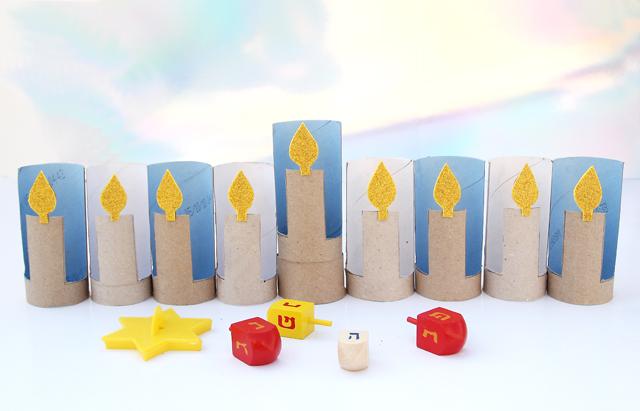 Hanukkah Menorah Craft Toilet Paper Tubes