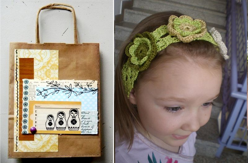 Crocheted flower headband and scrappy shopping bag