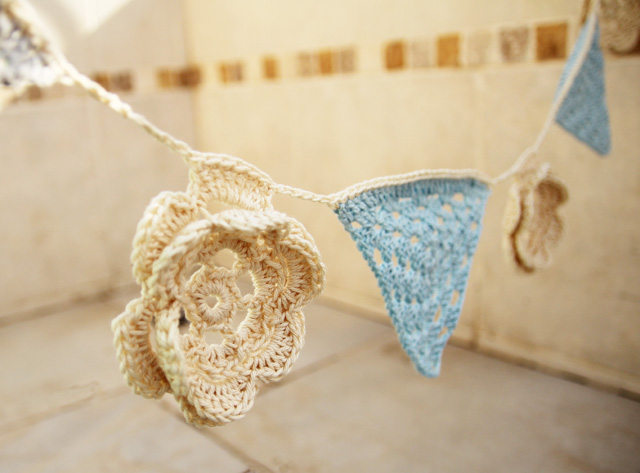 Crocheted granny triangle bunting