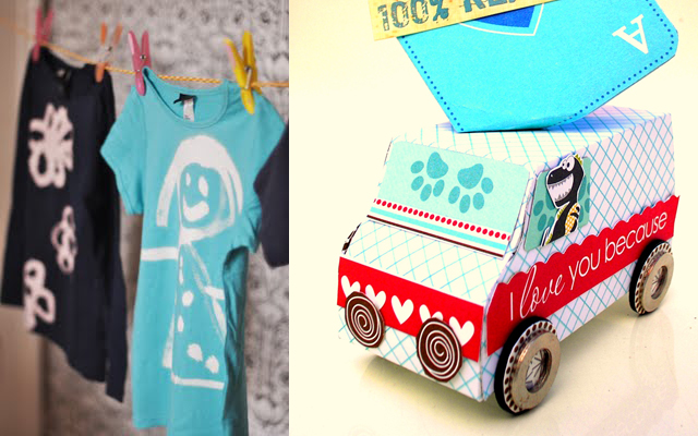 Bleach painted t-shirts, cardboard scrappy truck