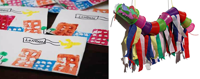 Dragon puppet from cups, cityscape printed postcards