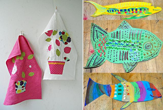 Appliqued dishtowels woven kids fish craft