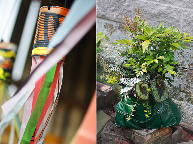 Recycled can wind socks, upcycled purse planter